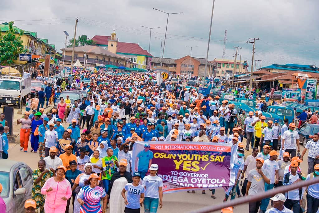 Inter'l Youth Day: Osun youths stage 20-km solidarity march for Oyetola