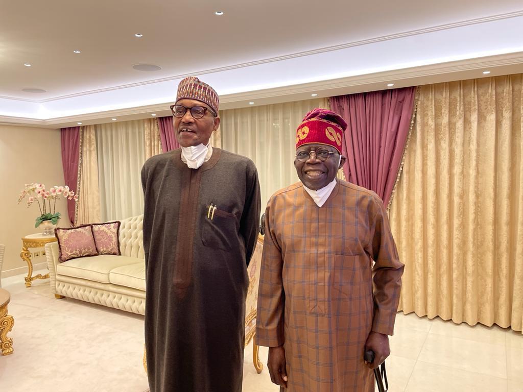 Buhari in surprise visit to 'sick' Tinubu in London (PHOTOS)